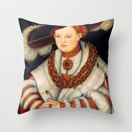 "Lucas Cranach the Elder ""Portrait of Magdalena of Saxony, Wife of Elector Joachim II of Brandenburg"" Throw Pillow"