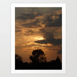 Sunset with Trees Art Print