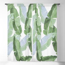 Tropical Leaves 2 Blue And Green Blackout Curtain