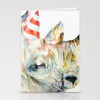 party Stationery Cards featuring Rhino's Party by Brandon Keehner