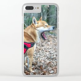 Shiba Inu yelling in the woods Clear iPhone Case