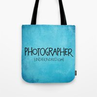 photographer Tote Bags featuring Photographer by Indie Kindred