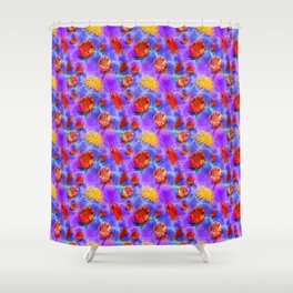 Colourful Australian Native Floral Pattern Shower Curtain