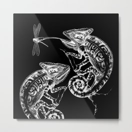 Catch - Chameleon and Dragonfly Illustration Hand Drawing from Inktober 2019 Metal Print