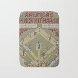 Vintage WWI Baseball Game Cartoon (1919) Bath Mat