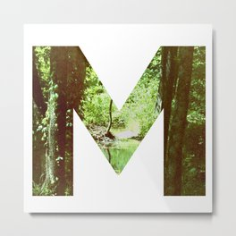"""M"" Initial Forest Metal Print"