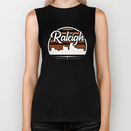 Retro Raleigh North Carolina Sunset Skyline Biker Tank