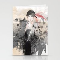 fashion illustration Stationery Cards featuring FASHION ILLUSTRATION 12 by Justyna Kucharska