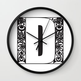 Northwest Pacific Coast American Native White Letter D Wall Clock