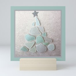 Sea Foam Sea Glass Christmas Tree #Christmas #seaglass Mini Art Print