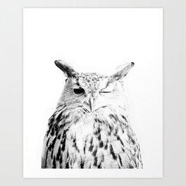 Owl, Bird, Cute, Scandinavian, Modern art, Art, Minimal, Wall art Print Art Print