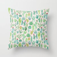 cactus Throw Pillows featuring Cactus by Abby Galloway