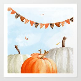 Breezy Day At The Pumpkin Patch Art Print