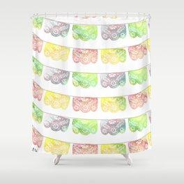 Vibrant Watercolor Papel Picado Shower Curtain
