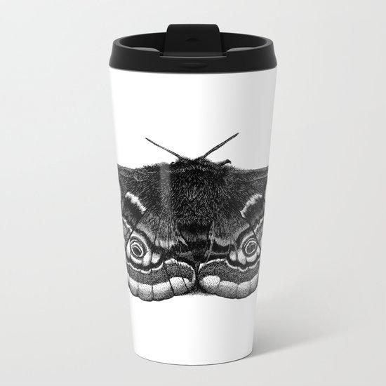 Moth Dotwork Drawing Metal Travel Mug