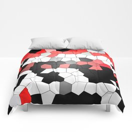 Red White Black Mosaik Graphic Comforters