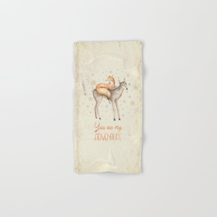 You are my adventure- fox and deer in winter- merry christmas Hand & Bath Towel