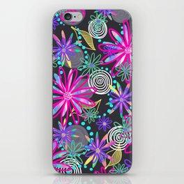 Dotty Flowers in hot pink, aqua & grey iPhone Skin