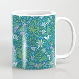 Edelweiss flowers with hellebore and snowdrops on blue background Coffee Mug