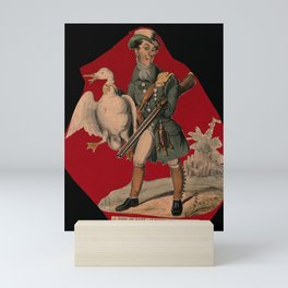 A hunter, with a gun under his arm, carrying a goose by the neck. Coloured lithograph. Mini Art Print