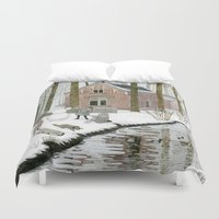 toddler Duvet Covers featuring Children Building A Snowman by Yuliya