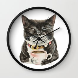 Purrfect Morning , cat with her coffee cup Wall Clock