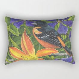 Northern Oriole and Day Lily Rectangular Pillow