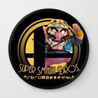 super smash bros Wall Clocks featuring Wario - Super Smash Bros. by Donkey Inferno