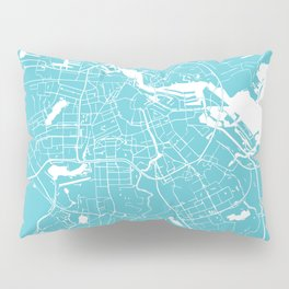 Amsterdam Turquoise on White Street Map Pillow Sham