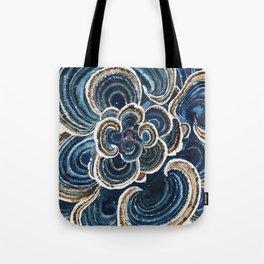 Blue Trametes Mushroom Tote Bag