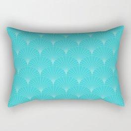 Mermaid Fans: Turquoise Print Rectangular Pillow