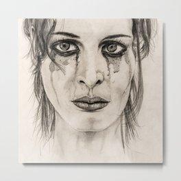 Crying girl - Drawing in pencil Metal Print