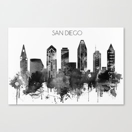 Black and white watercolor San Diego skyline Canvas Print