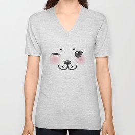 Kawaii funny albino animal white muzzle with pink cheeks and winking eyes Unisex V-Neck