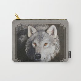 Gray Wolf Face Carry-All Pouch
