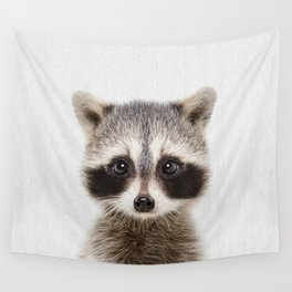 Baby Raccoon Portrait Wall Tapestry