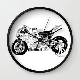 Motorcycle black and white, original race motorcycle Wall Clock