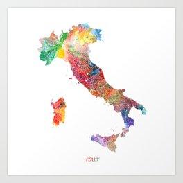 Italy Map Watercolor by Zouzounio Art Art Print