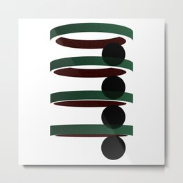 Geometric coloured architectural but abstract urban circles and elipses in green  and red graphic Metal Print