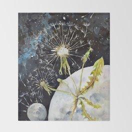 Dandelion Moon Surreal Space Travel, Taraxacum Throw Blanket
