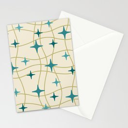 Mid Century Modern Cosmic Star Pattern 693 Cream Turquoise Olive Stationery Cards