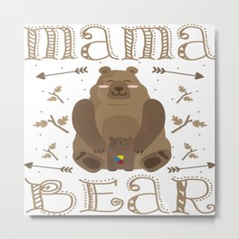 Autism Mama Bear Autistic Child Awareness Day Gift Metal Print