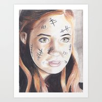 amy pond Art Prints featuring amy pond drawing by Jill Schell