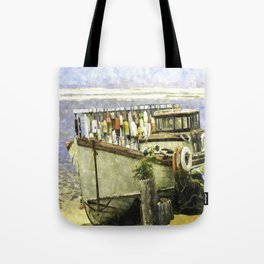 Watercolor Of An Old Fishing Ship Tote Bag