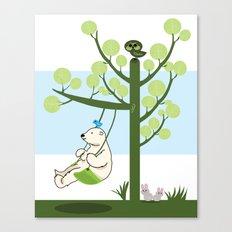 Polar bear play a swing Canvas Print