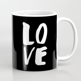 LOVE Wall Art Home Decor in Black-and-White Ink Modern Typography Poster Graphic-Design Minimalism Coffee Mug