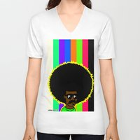 afro V-neck T-shirts featuring AFRO by watsonpablov