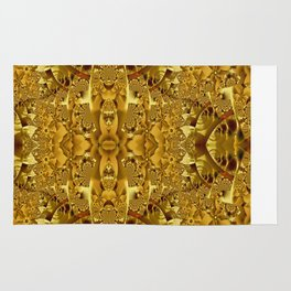 Fractal pattern in gold Rug