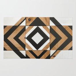 Modern Wood Art, Black and White Chevron Pattern Rug