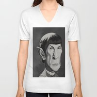 spock V-neck T-shirts featuring Spock - Caricature by Nate Cruz